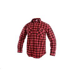 Košile TOM pánská flanelová s dlouhým rukávem červeno-černá