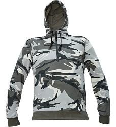 Mikina CRAMBE HOODIE pánská šedá camouflage s kapucí a klokankou