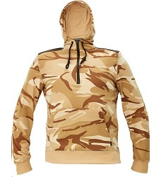 Mikina CRAMBE HOODIE pánská béžová camouflage s kapucí a klokankou