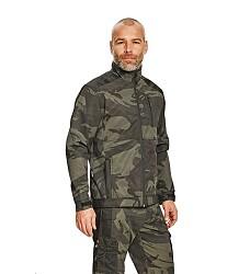 Bunda CRAMBE softshellová olivová camouflage pánská se stojáčkem