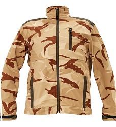 Bunda CRAMBE softshellová béžová camouflage pánská se stojáčkem