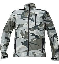 Bunda CRAMBE softshellová šedá camouflage pánská se stojáčkem