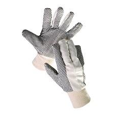 Rukavice OSPREY / OLIE  bavlněný úplet s PVC terčíky , vel.10, pružný náplet