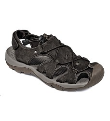 Sandále TROON kožené, pánské, textilní podšivka, uzavřená špíčka, černá