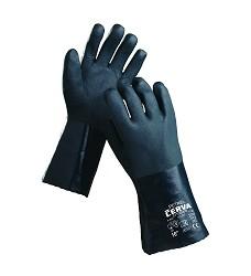 Rukavice PVC  na bavl. teplákovině zelené PETREL 151233