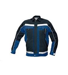 Montérková bunda STANMORE, reflexní doplňky, 100% bavlna 275g/m2 modro/černá