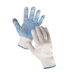 Rukavice PLOVER hrubý polyesterovýúplet s terčíky v dlani a prstech bílo-modré