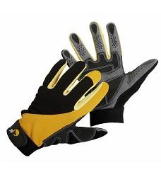 Rukavice CORAX, protiskluzové,  štípaná úseň, manžeta na suchý zip, žluto/černé, FH