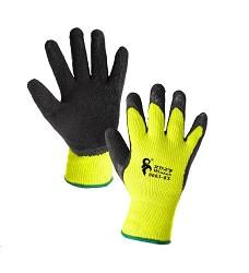 Rukavice ROXY WINTER zimní máčené v latexu černo-žluté