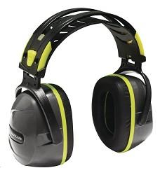 Mušlový chránič sluchu INTERLAGOS SNR 33 dB, dvojtý plast. oblouk, kov. výstuha, šedé