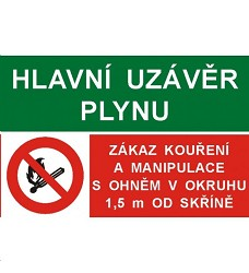 B.t.samolepka Hlavní uzávěr plynu/.Zákaz kouření a manipulace s plamenem A6