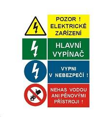 B.t.samolepka A5 Pozor! Elektrické zařízení / Hlavní vypínač / Vypni v nebezpečí!