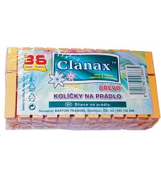 Kolíčky na prádlo dřevěné 36ks Clanax