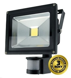 LED reflektor SMD s čidlem pohybu 20W černý 1xCOB LED WM-20WS-E