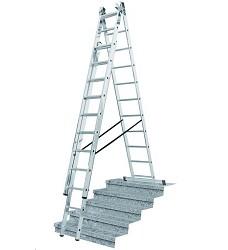 Žebřík trojdílný multifunkční s úpravou na schody 3x10 příček  285/448/615cm  16kg