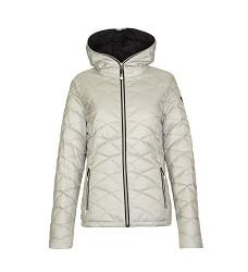 Bunda LINGKA dámská zimní péřová s kapucí stříbrná