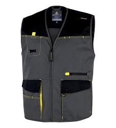 Montérková vesta D-MACH pánská, zapínání na zip, 5 kapes, žlutá-šedá